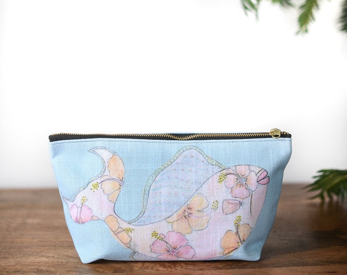 zipper pouch fish tropical print