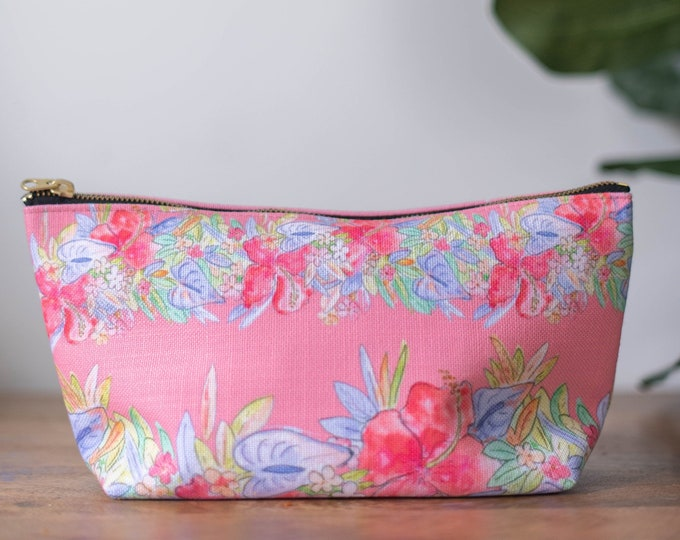 floral makeup bag  red hawaiian flowers print