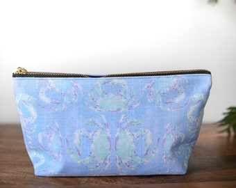zipper pouch blue crab tropical print