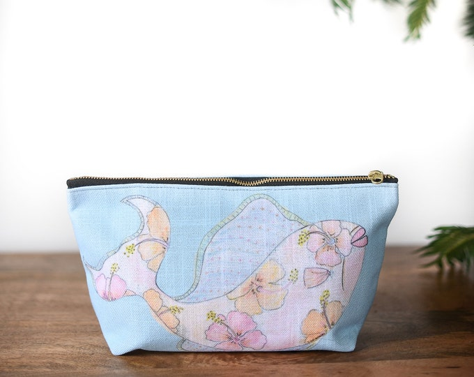 zipper pouch fish tropical print