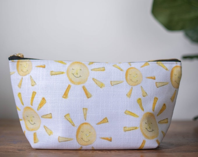 zipper pouch happy sun sunshine  print