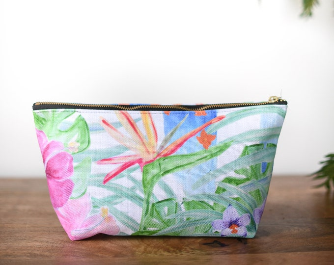 zipper pouch birds of paradise  tropical print