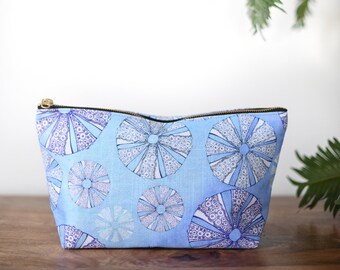 zipper pouch sea urchin  tropical print