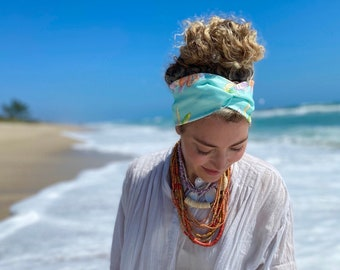 Turban Headband Tropical Prints Made From Organic Cotton