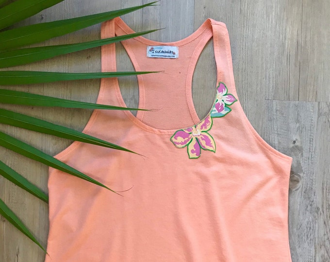Racerback Yoga Tank Coral  Tropical Flowers