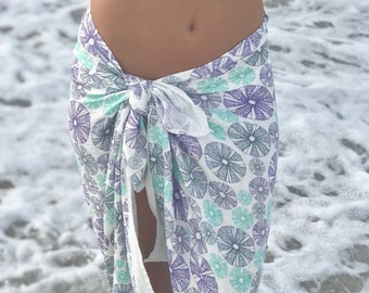 Sarong Organic Cotton Guaze Sea Urchin Sea Shell
