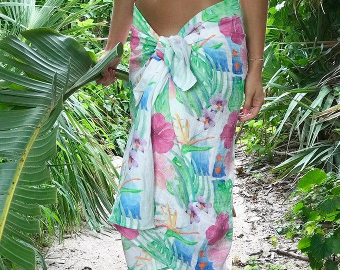 Sarong Organic Cotton Gauze Tropical Hawaiian Print