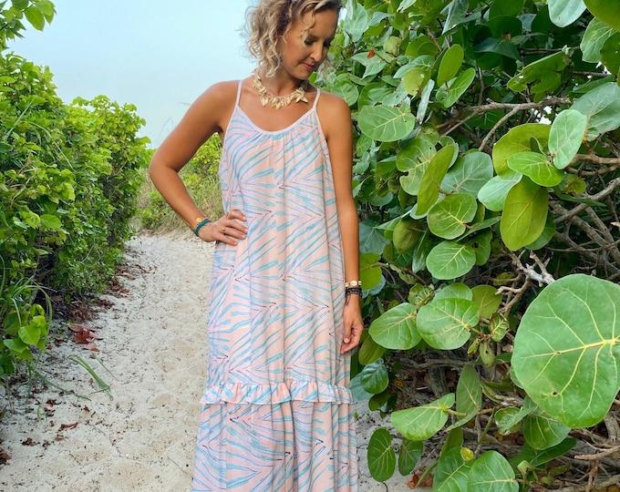 Tropical Coral Palm Leaf Print Ruffle Flowy Maxi Dress