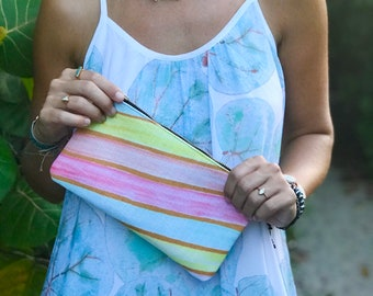pencil case medium zipper pouch retro stripes print