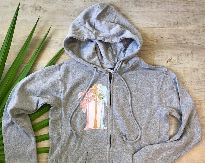 Hoodie Jacket Super Soft Gray Palm Trees