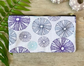 pencil case medium zipper pouch sea urchin  print