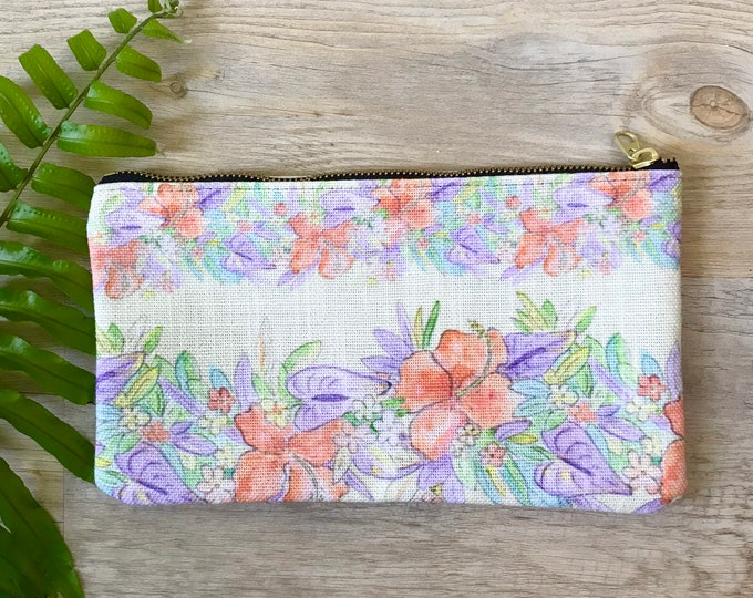 pencil case medium zipper pouch yellow hawaiian print