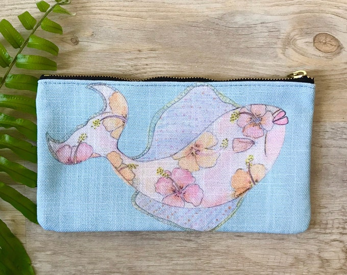 pencil case medium zipper pouch tropical fish print