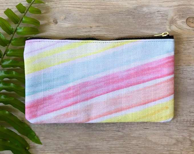 pencil case medium zipper pouch pastel stripes print