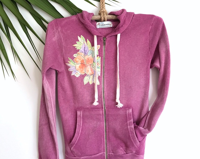 Hoddie Jacket Purple Soft Tropical Flowers