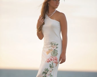 One Shoulder Beach Wedding Dress With Blush Pink Flowers