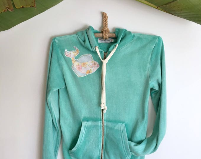 Hoddie Jacket Seafoam Aqua Soft Tropical Fish