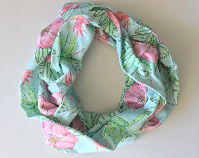 Organic Cotton Infinity Blue Tropical Flowers