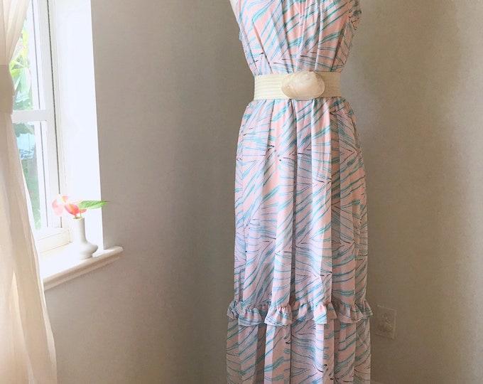 Tropical Palm Leaf Coral Ruffle Flowy Maxi Dress pre-order sale orginally 89.00 now 62.30