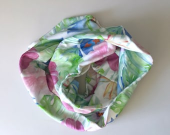 Organic Cotton Infinity Scarf Tropical Hawaiian Print