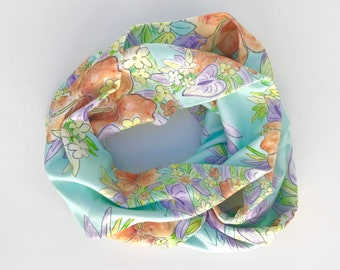 Organic Cotton Infinity Scarf Aqua Tropical Hawaiian Flowers