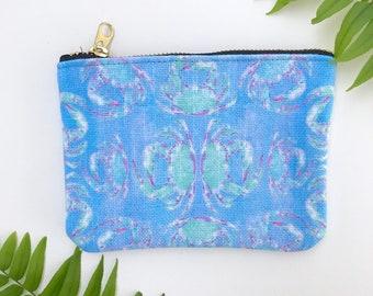 small coin purse / zipper pouch blue crab tropical print