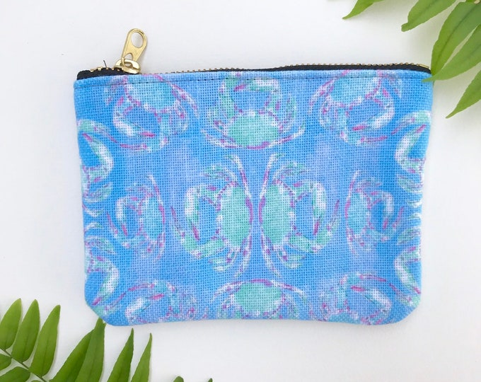 small coin purse / zipper pouch blue crab tropical print