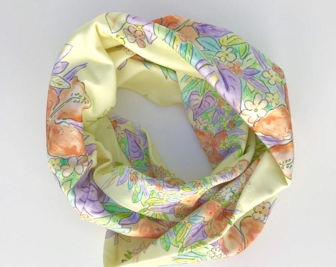 Organic Cotton Infinity Scarf Yellow Hawaiian Flowers