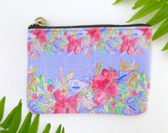 small change purse / zipper pouch periwinkle hawaiian print