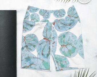 Biker Shorts, High Waist Yoga Shorts, Sea Grape Print , Tropical Leaves