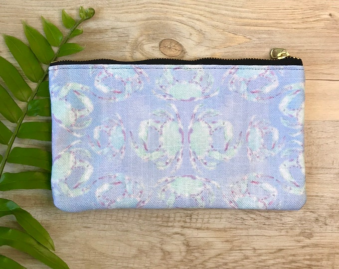 pencil case medium zipper pouch blue crab print