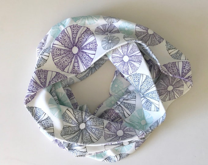 Organic Cotton Infinity Scarf White Sea Urchin