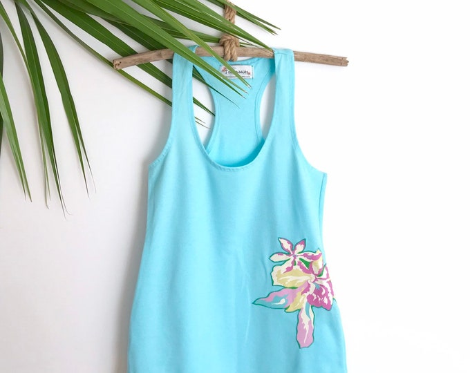 Aqua Racerback Yoga Tank Tropical Flowers