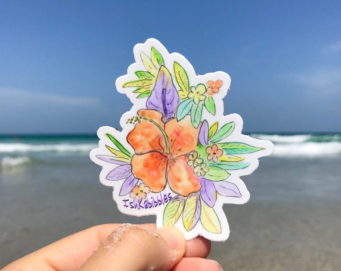 Hibiscus Tropical Flowers Vinyl Stickers Ishkabibbles