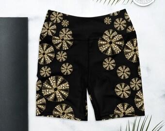 Biker Shorts, High Waist Yoga Shorts, Biker Shorts Outfit, Black Sea Urchin Print