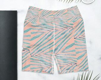 Biker Shorts, High Waist Yoga Shorts, Palm Leaf Print , Coral Blush Pink