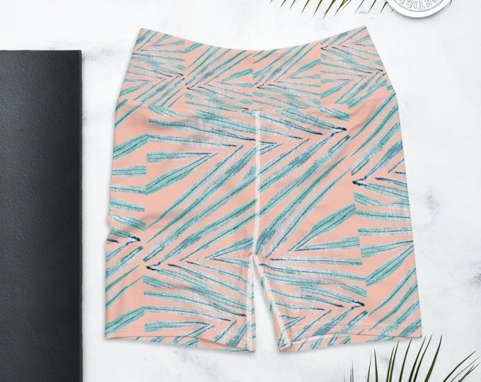 Biker Shorts, High Waist Yoga Shorts, Palm Leaf Print , Coral Blush Pink
