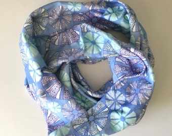 Organic Cotton Infinity Scarf  Blue Sea Urchin
