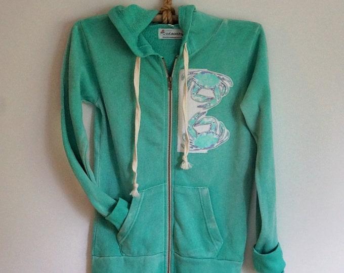 Hoodie Jacket Aqua Crab Applique Size Large Free Shipping