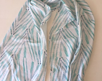 Organic cotton scarf sarong palm leaf pattern