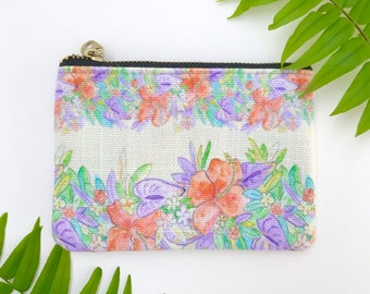 small coin purse / zipper pouch yellow hawaiian flowers print