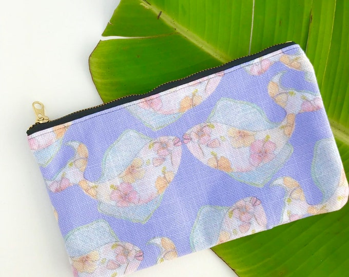 pencial case medium zipper pouch fish tropical print