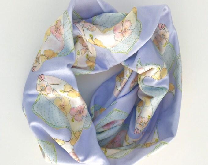 Organic Cotton Infinity Scarf Periwinkle Fish Print