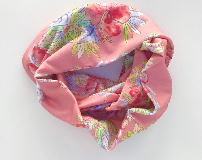 Organic Cotton Infinity Scarf Floral Pattern Red Hawaiian Flowers