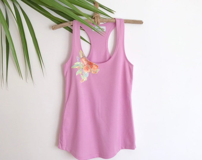 Racerback Yoga Tank Purple Tropical Flowers