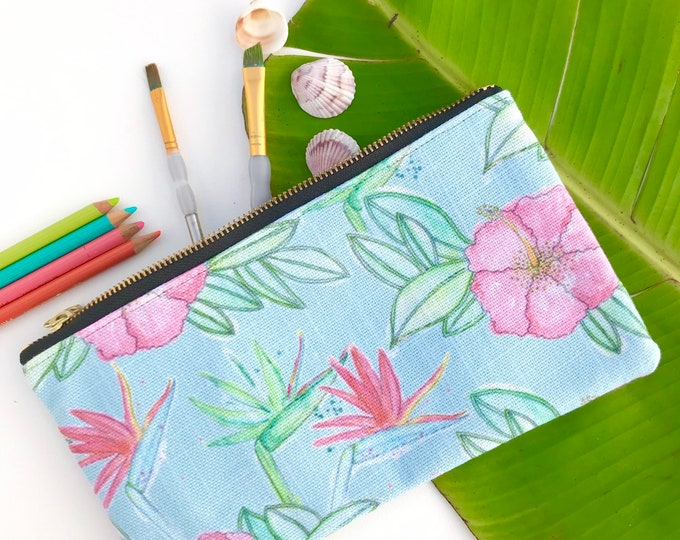Pencil Case Medium Zipper Pouch Aqua Hibiscus and Birds of Paradise