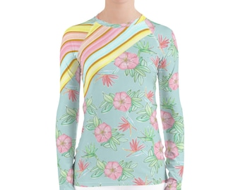 Women's Rash Guard Pastel Stripes and Flowers