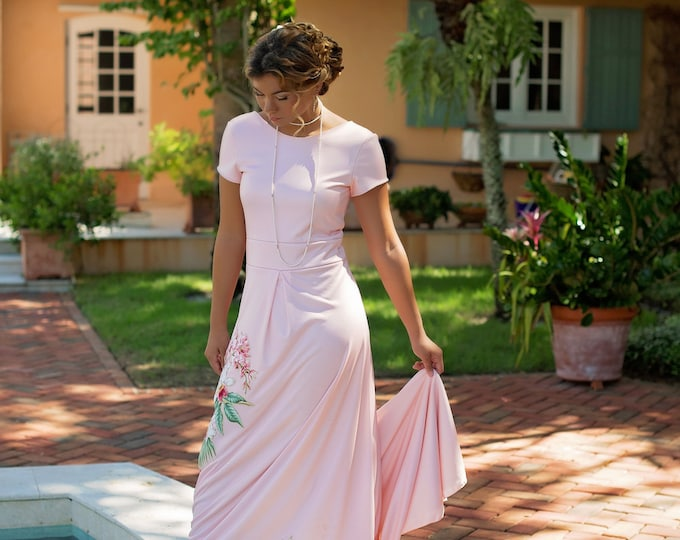 Blush Pink Beach Wedding Dress