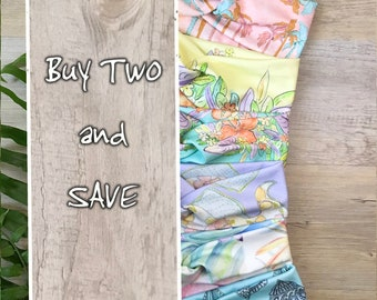 Buy Two and SAVE Turban Headband Tropical Prints Made From Organic Cotton
