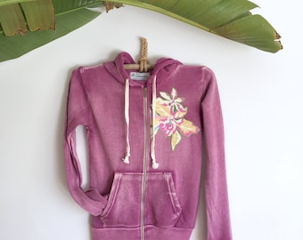 Hoddie Jacket Super Soft Purple Tropical Flowers